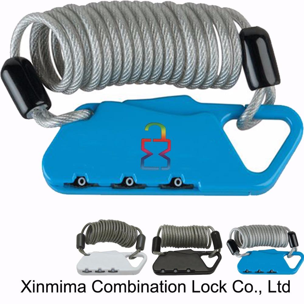 Portatile cavo di sicurezza con cifre serratura a combinazione e di auto-ripristinabile avvolgimento in acciaio zincato