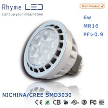 Customized design NICHINA mr16 6w led spotlight for 50w halogen replacement compliance with electronic transformer