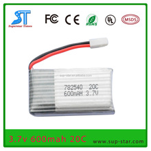 600mAh 782540 Cheap 3.7V RC Helicopter LiPo Battery for Walkera X5C X5A Hubsan X4 H107 H107D