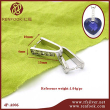RenFook Factory direct sale 925 sterling silver 15mm silver crystal clasp