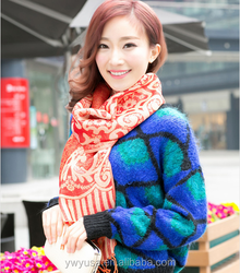 2015 new design floral polyester printed lady fashion scarf