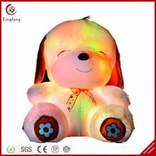 Factory customized glow in the dark plush dog soft stuffed cartoon puppy doll supple animal toy