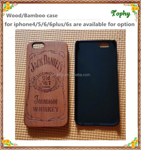 New products on china market all-round protect design real wood phone case with laser engraving Jack Daniels whiskey for iphone