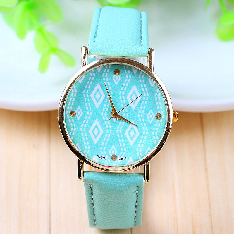 watch leather strap fashion accessories slay grande band print glasses green wristwatch watches pu cat leopard ladies mint products