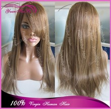 #6 light brown cheap peruvian human hir full lace wig with bangs natural hairline