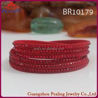 Wholesale fashionable jewelry.wrap crystal rhinestone bracelet with adjustable buckle 2015