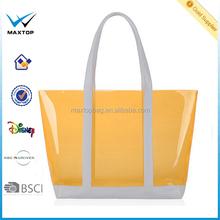 Fashion pvc tote clear beach bag, pvc zipper tote bags