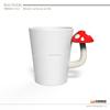 2015 hot sale white mushroom shape handle unique ceramic cup