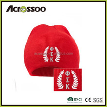 Acrylic you own logo cabel knit all season beanie/red embroidered knitted hat