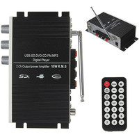 NEW Super Bass USB Mini Stereo Audio Car Power Amplifier USB DVD CD with FM MP3 Remote Controller