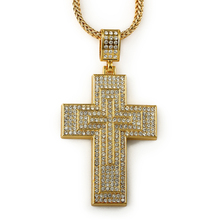 2015 hip hop 18k Gold plated Fashion Women Men bling crystal iced out triple Cross pendant necklace for fashion wear