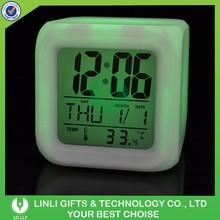 Plastic 7 Lights Cube Table Clock, LED Desk Clock, LED Calendar Clock