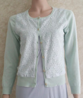 Newest fashion colorful lace knitting cardigan for lady's wear,wholesale long sleeve sweater top