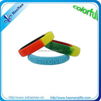 Custom silicone rubber bracelets with embossed logo