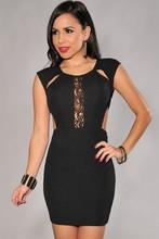K021 Sexy Wholesale Scoop Black Open Back Short Satin Sheath Cocktail Dress 2015