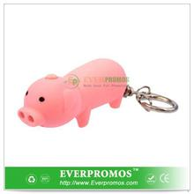 Novelty Design Pig LED Keychain - with Sound For Fun