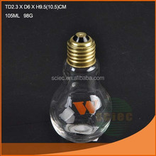 Popular and nice bulb shaped 105ml glass spice jar with metal gold lid