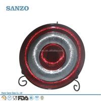 Sanzo Custom Glassware Manufacturer Wholesale Purplish Red Glass Plate With Golden Edge