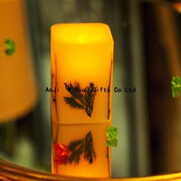 Beautiful printed electric flameless un scented art candle for home or party decoration with dry flowers