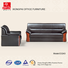 Popular Germany Living Room Leather Wood Office Sofa(E3243)