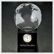 Wholesale Customized Crystal Globe Clock With Black Base