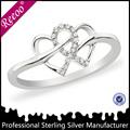 Coração shpaed anéis de prata moda jóias china