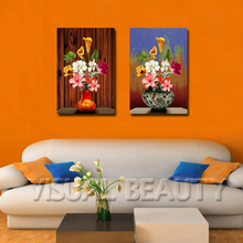 Two Vase Flowers Paintings Print Picture for Decoration