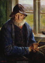 old man painting diy oil painting by numbers