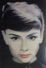 Audrey Hepburn Black and White Handmade Beautiful Woman Figure Portrait Oil Painting on Canvas for Wall Art Decoration