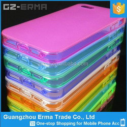 New Product-Soft Jelly Ultra Thin Full Transparent Frosted TPU Case with Dustproof Plug for iPhone 5 5s