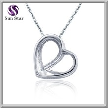 Cheap factory price 925 sterling silver necklace plain heart lover necklace
