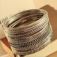 2015 New Wholesale Fashion Bracelets Jewelry Acrylic Crystal Bracelet Charm Rivet Punk Bracelets Vintage Bangles Gifts Women