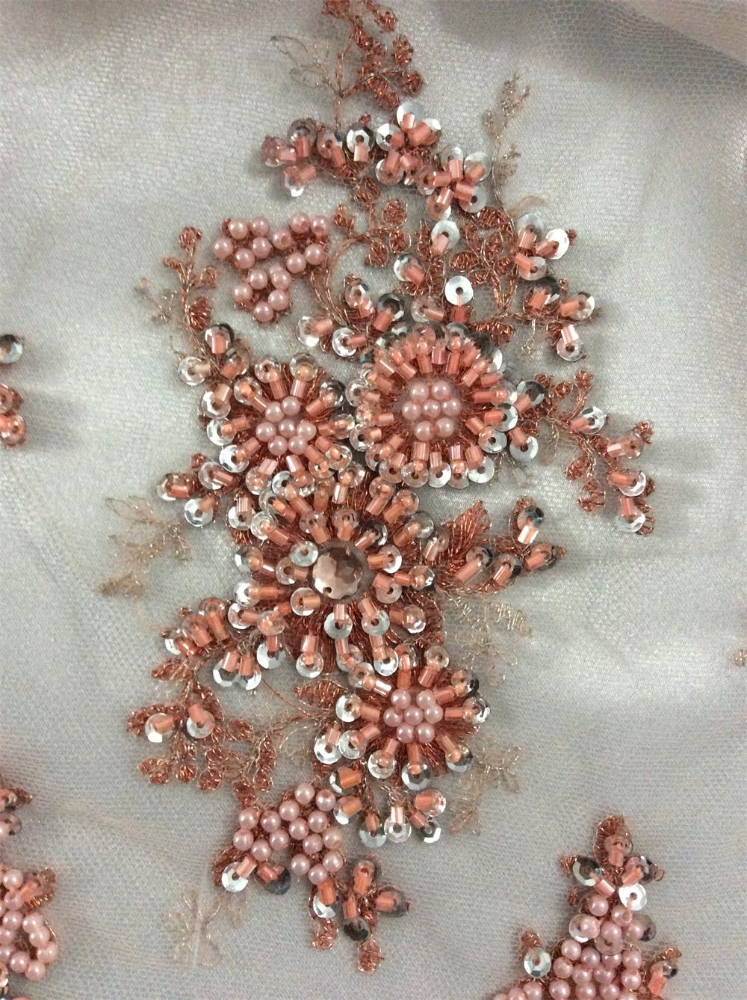 Fashion hand embroidery fabric with acc for wedding