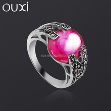 OUXI New arrival hot sale women unique couples infinity ring with purple stone
