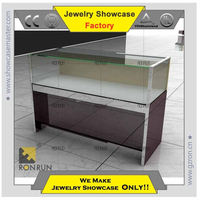 Jewelry display showcase factory glass and baking wood jewelry display counter and showcase