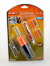 HZE-8358 6-in-1 aluminium screwdriver&mini bits set