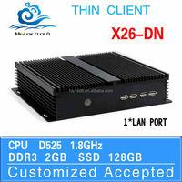 In Stock !! cheap thin client fanless htpc desktop mini pc cpu D525 X26-DN 2.0GHZ 2G Ram 128G SSD Support Webcam
