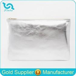 Hot Selling Fashion Metallic Leather Silver Plain Clutch Bag PU Leather Plain Clutch Bag