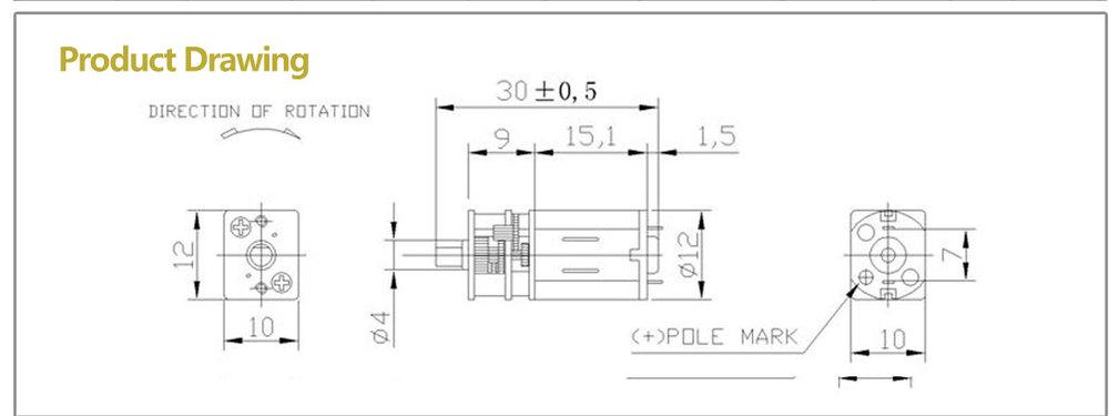 1W door lock gear motor ZSGR12-N20