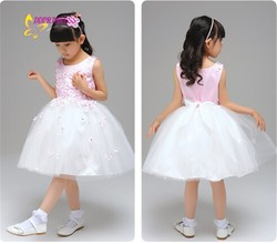 Fashion wedding dress cute baby girl pink dress lovely flower design wedding party dress