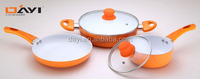 5pcs Ceramic Alu Cookware Set with colorful handle juego de ollas