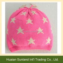 W-1070 kids baby five-pointed star pattern crochet hat children jacquard acrylic beanies