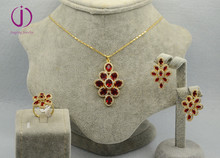 New arrival fashion copper rubby jewelry set 3piece sets