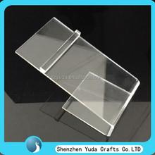 Fantasia elegante acrílico transparente shoe riser titular shoe rack único PMMA transparente exposição de calçados de plástico
