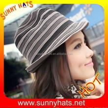 ladies' striped matching wool felt vintage fedora hat