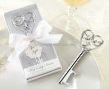 "Wedding favor key shape bottle openers boxed ""Key To My Heart"""