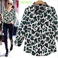 leopardo de impresión de diseño de la camisa de gasa
