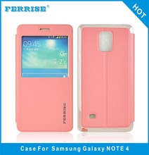 Small MOQ wholesale stand flip leather cover for samsung galaxy note 4 N9100
