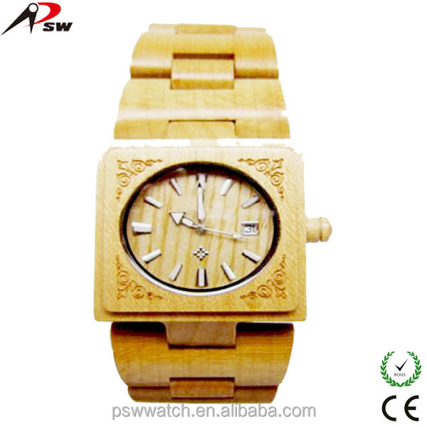 fashion dial auto date wood watches women wood watches square bamboo watch