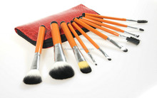 10 PCS Travel Makeup Brush Set With Leather Bag Professional Manufacturer
